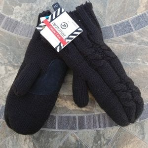 Isotoner Casual Knit Black Mittens
